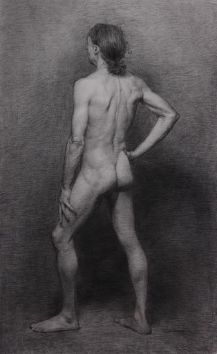 Full-time study - Charcoal figure by tutor Lucas-Garcia