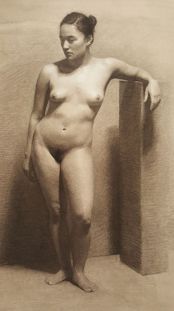 Full-time study - student alastair-brown-figure-drawing-ella-charcoal-and-chalk-2017